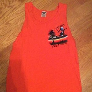 Orange Dominican Republic Hand Painted Tank Top